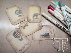 Photo Tutorial by Tim Holtz on making these mini tag masterpieces for Simon Says stamps Stamptember. 2013