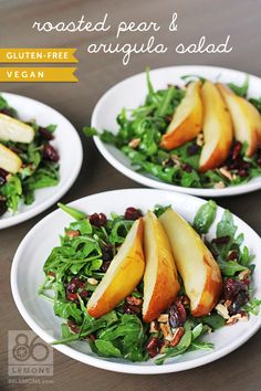 SCD Roasted Pear & Arugula Salad (*Use SCD legal dried cranberries / apple cider & substitute honey for maple syrup...)
