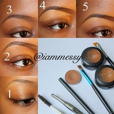 """1⃣ Use mascara wand brush to brush up your brows. Then clean up unwanted hair strands with a tweezer or razor. 2⃣ Use a brow pencil (MACs brow pencil """"spiked"""") two shades lighter than your hair color and outline the top and bottom of your brows. 3⃣ Use a brown shadow (MACs """"saddle"""") with a flat defined brush (crown royal 153) And fill in your brows. 4⃣ Take a cream base concealer one shade lighter than your foundation color (studio finish concealer NW40) and an angle brush and sharpen up the…"""