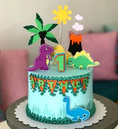 Boys First Birthday Cake, Paw Patrol Birthday Cake, Dinosaur Birthday Cakes, Minion Birthday, Dinosaur Cake, Birthday Cake Toppers, Die Dinos Baby, Baby Dino, Baby Cakes