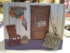Handmade Card, Masculine, Fishing. $5.50, via Etsy.