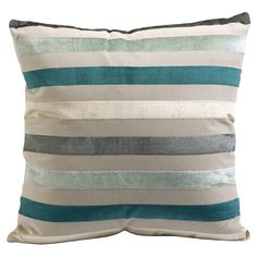 Striped pillow in blue, gray, and cream