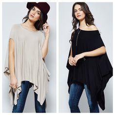Arriving 01/25 ~  super soft and drapes perfectly, short sleeve poncho top that can be worn on/off one shoulder. Colors available: Taupe & Black in sizes small, med, & large. •  •  Tops like this are perfect for all seasons. Cold weather layer it over a fitted long sleeve top and add a blanket scarf. Spring ~ wear it alone with a lightweight scarf and jeans. And in summer ~ pair it with crops, denim mini, or shorts and sandals. It's impossible to go wrong with versatile staple pieces like…