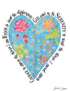 Nature's Heart Serenity Prayer matted print by CarolineSimasStudio Enter code for off through Tuesday, Feb Serenity Prayer, 10 Frame, Gods Grace, All Print, Original Artwork, Prayers, Blessed, Faith, Joy