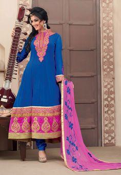 Blue Faux Georgette Churidar Kameez Online Shopping: KGB1869