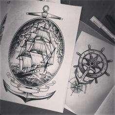 alex_tabuns's photo on Instagram Alex Tabuns, Sea Tattoo, Compass Tattoo, Tattoo Drawings, Blackwork, Geek Stuff, Ink, Instagram Posts, Illustration