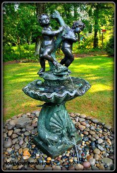 Cherub and dragon fountain display. Installed by Full Service Aquatics of Summit, NJ.
