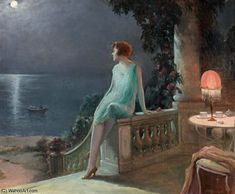 on the terrace by Delphin Enjolras (1857-1945, France)