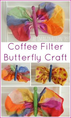 #FREE activity FRIDAY: Coffee Filter Butterfly Craft  Make a beautiful coffee filter butterfly craft using water color paints and clothes pegs! Such a simple, classic nature craft which looks gorgeous hanging in the window or as a mobile for a baby.  http://theimaginationtree.com/2014/06/coffee-filter-butterfly-craft.html  Thanks to The Imagination Tree for this great activity!