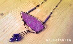 ArdesiaNera - Enamel copper necklace, amethyst.