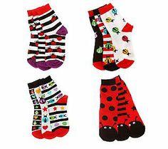 whimsy days -- little missmatched Ladybug Crew Sock Parent Gifts, Ladybugs, Xmas Gifts, Crew Socks, Qvc, Parents, Gift Ideas, Money, Eyes
