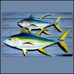 Tallas del atún aleta amarilla, decoración, decoración de la vida costera, pescado de madera decoración, decoración de la playa, decoración náutica, la pesca de peces hangings de la pared,