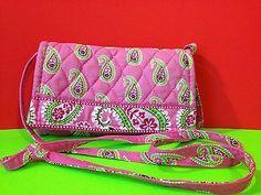 2256cb6a3 Vera Bradley Paisley Bermuda Pink Wallet On A String Retired CrossBody Gift  | eBay