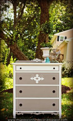 My Passion For Decor: Another Battered Craigslist Dresser Turned Beauty! French Linen and Pure White Annie Sloan Paint