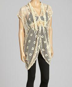Look what I found on #zulily! Creme Open Crochet Linen-Blend Top by Pretty Angel #zulilyfinds