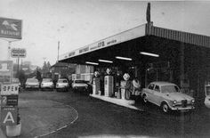 Another typical filling station, complete with half a dozen used cars as a side line. Don't see many Wolseley these days Oil Service, Old Gas Stations, Filling Station, Exhibition, Commercial Vehicle, Old Cars, Bristol, Past, Detail