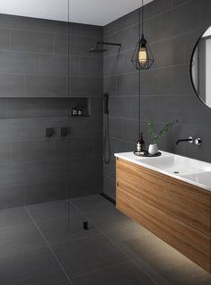 Doblo Matt Grey Cement Effect Floor Tile - Floor Tiles from Tile Mountain Dark Gray Bathroom, Grey Bathroom Tiles, Dark Bathrooms, Concrete Bathroom, Bathroom Renos, Bathroom Layout, Small Bathroom, Dark Grey Tiles, Shower Tiles