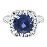 Lab-Created Blue & White Sapphire Ring in 10K Gold