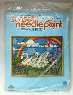 Vintage 1981 Sunset Designs RAINBOWS & SWANS Needlepoint Kit art by Barbara Jennings for sale on eBay