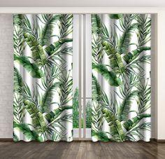Dlouhé závěsy bílé barvy se zeleným potiskem Curtains, Shower, Prints, Home Decor, Ideas, Rain Shower Heads, Blinds, Decoration Home, Room Decor
