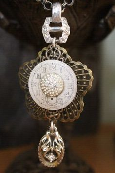 Watch Face & Vintage Rhinestone Button Necklace by BelleVia, $48.00