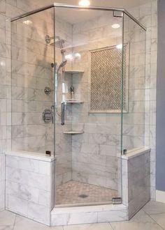 Enticing Corner shower remodel diy,Very small shower remodel tips and Master shower remodeling before and after. Master Bathroom Shower, Bathroom Renos, Bathroom Renovations, Home Remodeling, Vanity Bathroom, Condo Bathroom, Bathroom Hardware, Small Bathroom Showers, Glass Tile Bathroom