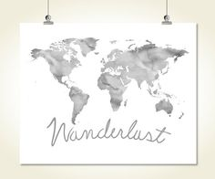 Watercolor world map vector free download free illustrations large grey world map wanderlust print watercolor printable world map neutral wall decor poster sign digital gumiabroncs Images