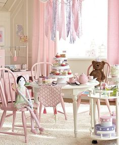 Pottery Barn Kids Tea Party Playroom New Year, New Room Makeover Giveaway Girls Bedroom, Bedrooms, Tea Party Table, Little Girl Rooms, Pottery Barn Kids, Home Staging, New Room, Stuffed Animals, Table And Chairs