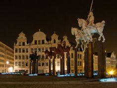 Place de L'Albertine, Brussels Belgium. Horses and gabled houses #sculptures