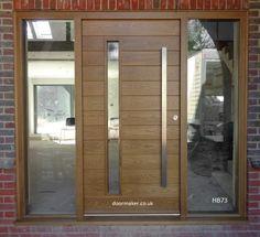 Contemporary Front Doors, oak iroko and other woods, Bespoke Doors Modern Entrance Door, Modern Front Door, Front Door Entrance, House Entrance, Entry Doors, Porch Designs Uk, Front Porch Design, Front Door Canopy, Oak Front Door