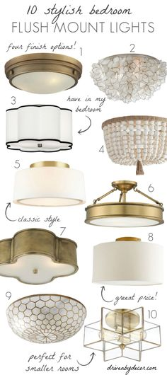 Bedroom Light Fixtures: The Complete Guide! My favorite stylish flush mount lights for bedrooms! Light Fixtures Bedroom Ceiling, Bedroom Lighting, Home Lighting, Club Lighting, Ceiling Lights For Bedroom, Cheap Light Fixtures, Low Ceiling Lighting, Light Bedroom, Interior Lighting