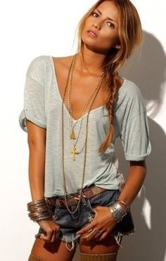 Gray loose tee and jean shorts with long gold necklaces, love with loose braid! those legwarmers or whatever that is, not so much