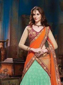 CreamMaroonShadedNetArt Silk lehenga choliwithzari embroidery
