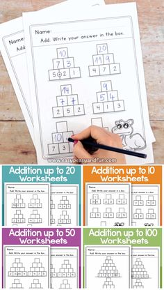 Pyramid Addition Worksheets Practice addition up to 50 and 100 with these engaging addition worksheets for kindergarten and grade one. Preschool Learning Activities, Preschool Math, Kindergarten Math, Teaching Math, Teaching Ideas, Math For Kids, Fun Math, Kindergarten Addition Worksheets, Kids Math Worksheets