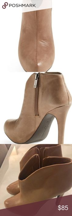 """Jessica Simpson platform leather ankle bootiesz6.5 A curvy topline accentuates the clean-cut profile of a hidden-platform bootie cast in smooth leather. 4 1/4"""" heel; 3/4"""" platform (size 8.5). 6"""" boot shaft. Side zip closure. Leather upper/synthetic lining and sole. By Jessica Simpson; imported.brand new ankle bootie size 6.5 Jessica Simpson Shoes Ankle Boots & Booties"""
