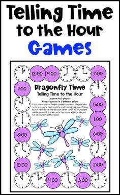 Fun games, color by code and cut and paste activities for learning to time to the hour! Telling Time Activities, Time To The Hour, Cut And Paste Worksheets, Fun Games, Classroom, Coding, Learning, Color, Cool Games