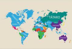 (foto)+Harta+lumii+ce+dezvăluie+care+este+cea+de-a+doua+cea+mai+vorbită+limbă+în+diferite+țări