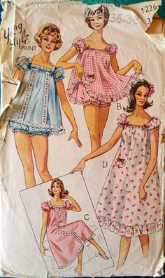 """Style 1226 A Young Style ca. Baby Doll Pyjama& Nightie Add a photo to the gallery by clicking the """"modify"""" button below. Vintage Dress Patterns, Clothing Patterns, Vintage Dresses, Vintage Outfits, Vintage Clothing, 1960s Fashion, Vintage Fashion, Fashion Fashion, Fashion Ideas"""