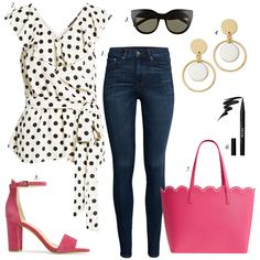 best fitting high rise jeans, how to build a summer wardrobe collection, what to wear summer date night, polka dot ruffle blouse, scalloped tote, ankle strap heels, skinny jeans, high rise skinny jeans, good american jeans