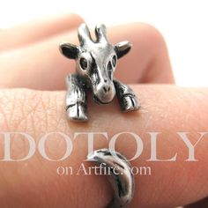 Baby Giraffe Animal Wrap Around Ring in Silver Sizes 4 to 9 | DOTOLY