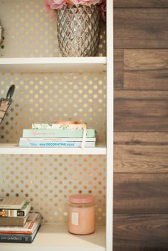 office and guest bedroom,planked wood wall with Kate spade polka for wrapping paper bookcase DIY ohmydearblog.com