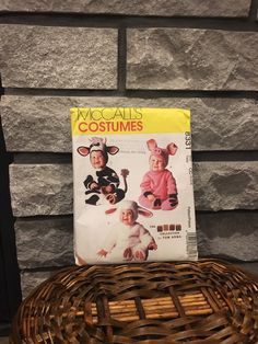This is just too cute.... Lamb, pig or cow baby or toddler costume pattern, McCalls 8331 size CC 2,3,4 uncut, darling Halloween or party costume Tom Arma collection #etsyshop # #sewing #animalcostumes #cowcostume