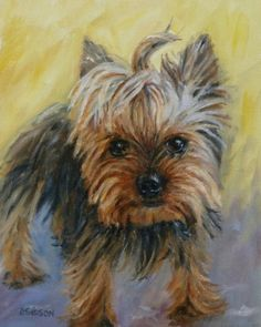 Lola Oil Painting Pet Art Portrait Commissioned Yorkshire Terrier, painting by artist Debra Sisson