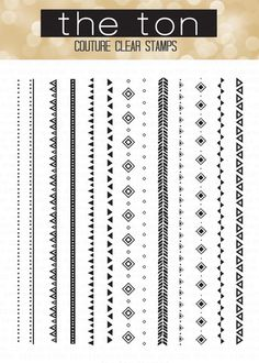 Our Tribal Chic Borders are on trend. Stamp them in one color or five colors and in any combination to create some chic and trendy patterns. - 4x6 inches - 12 stamps - Made of photopolymer - Made in t