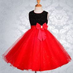dark red flower girl dresses | Black-and-Red-Wedding-Flower-Girl-Bridesmaid-Dresses-Birthday-Age-2-3 ...