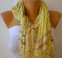 ON SALE - Yellow Scarf - Spring Scarf -  Knitted Scarf - Women  Scarf  - Shawl  - Cowl - Neckwarmer - Silvery - Yellow on Etsy, $17.10