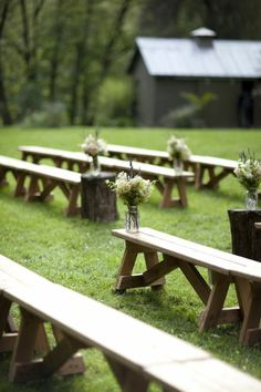wedding benches for ceremony, put beautiful cushions to soften the seat