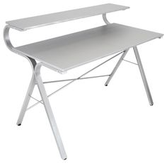 Increase your productivity with a clean and organized workspace. The sleek sophistication of the LumiSource Wave Desk provides functionality for large and small spaces. Utilize the additional shelving Mod Furniture, Bamboo Furniture, Home Office Furniture, Home Office Decor, Furniture Design, Desk Organizer Shelf, Modern Office Desk, Office Desks, Recycled Home Decor
