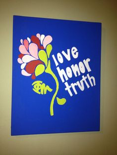 """Phi Mu """"Love, Honor, Truth"""" canvas painting on Etsy, $25.00"""