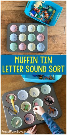 Muffin Tin Letter Sounds Activity Muffin Tin Letter Sounds Activity – Frugal Fun For Boys and Girls More from my site Teaching Letter Recognition – what order to introduce letters Alphabet Activities for Kids Teaching Letters and Letter Sounds Pre K Activities, Preschool Learning Activities, Preschool At Home, Kindergarten Letter Activities, Sensory Activities, Fun Learning, Activities For Children, Jolly Phonics Activities, Kindergarten Literacy Stations